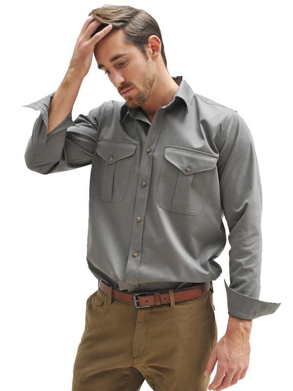 Safari Shirt Cognac Heels: Mens Cotton Twill Safari Shirt