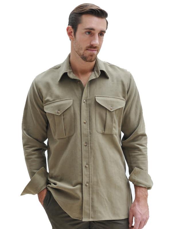 Safari Shirt Cognac Heels: Mens Moleskin Safari Shirt