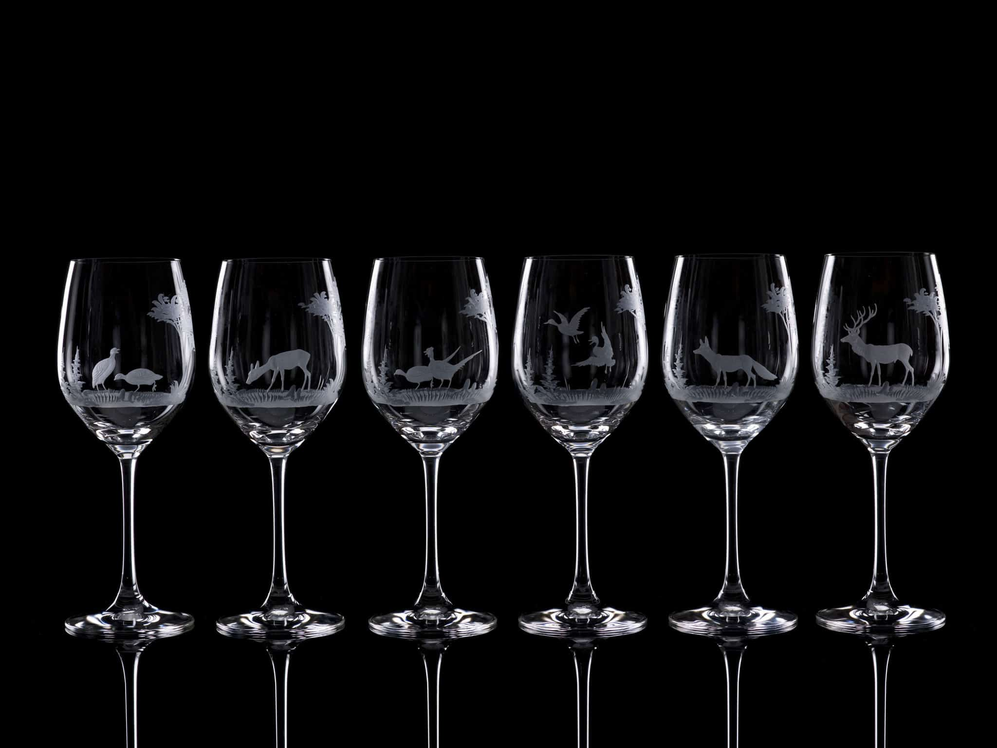 Crystal White Wine Glasses - Set of Six