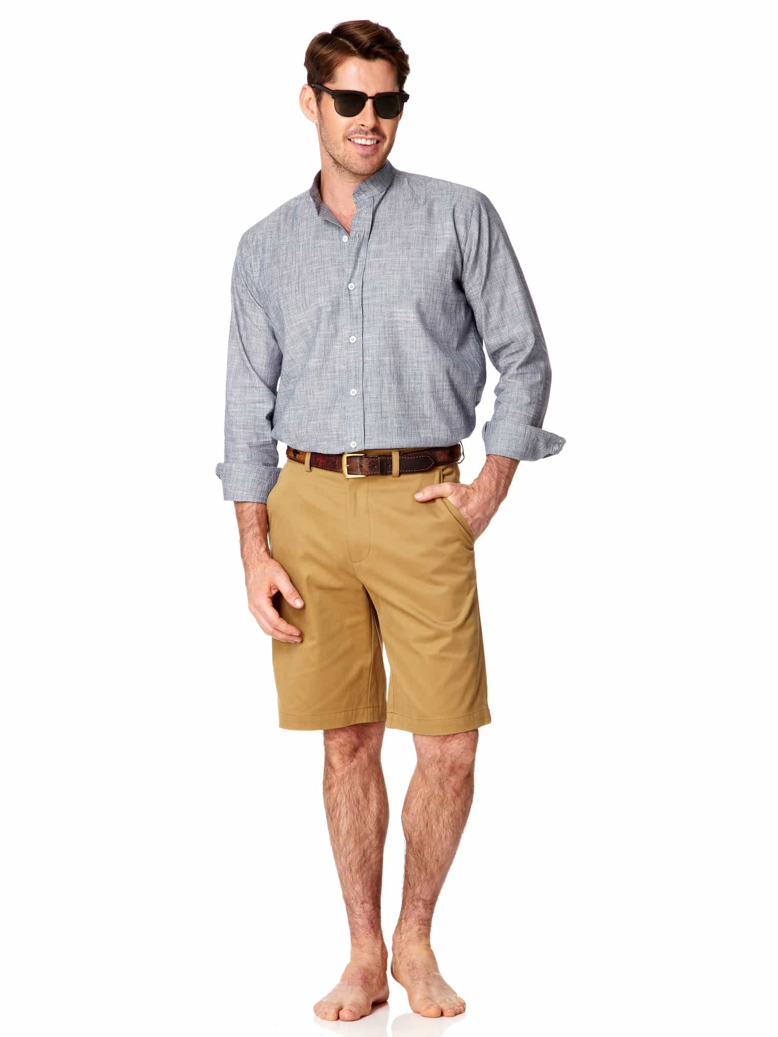 Mens Cotton Safari Shorts Tan | Mens Travel Clothing | Tim Best Direct