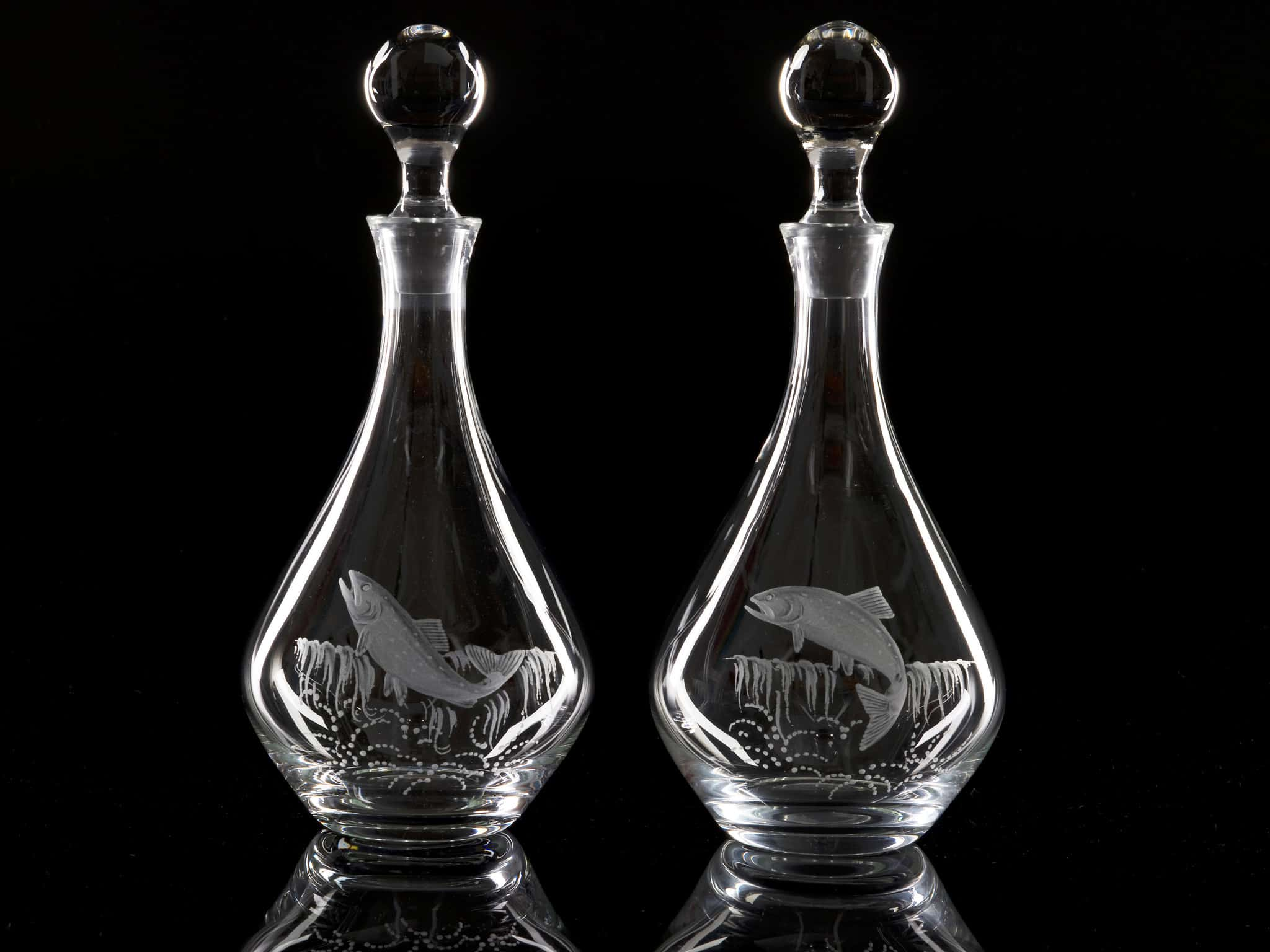 Crystal Wine Decanters - Salmon