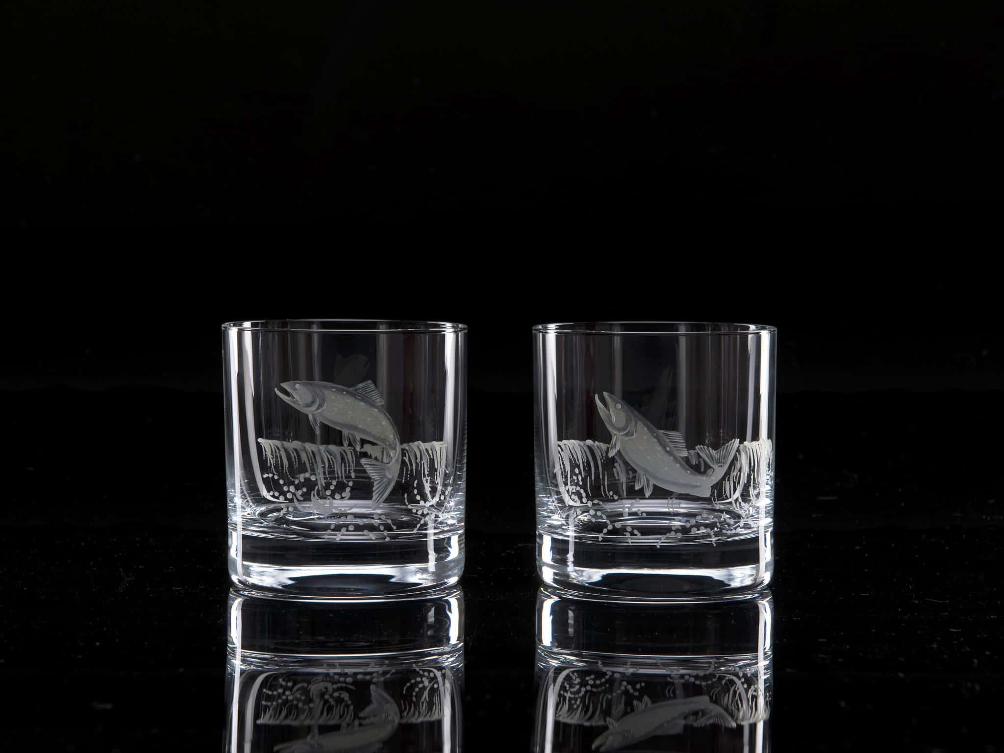 Crystal Whisky Tumblers Salmon - Pair