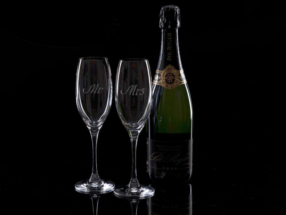 A Pair Of Crystal Champagne Flutes