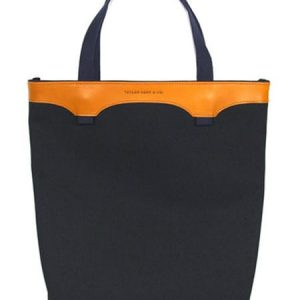 Canvas And Leather Tote Bag – Navy