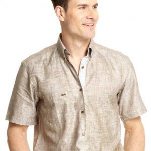 Linen Short Sleeved Shirt – Brown