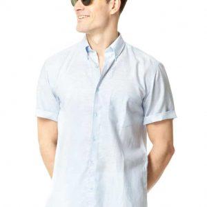 Linen Short Sleeved Shirt – Blue