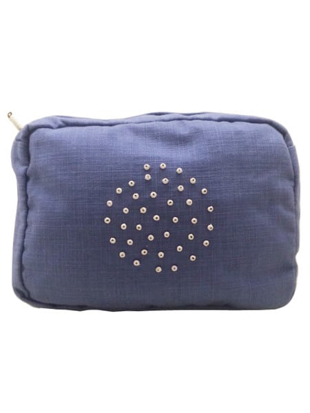 Cotton and Linen Wash Bag Blue