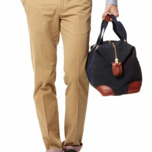 Cotton Chinos With Stripe Trim