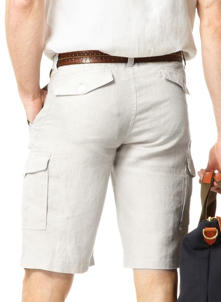 Mens Pale Grey Linen Cargo Shorts | Mens Travel Clothing | Gerald ...