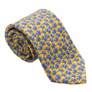 TUSK Elephant Silk Tie - Yellow