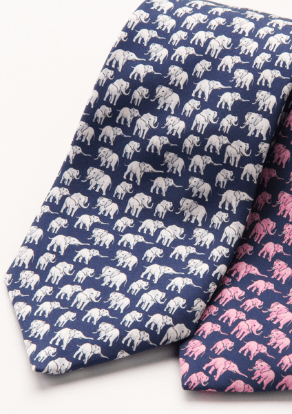 Elephant Silk Tie - Navy And White