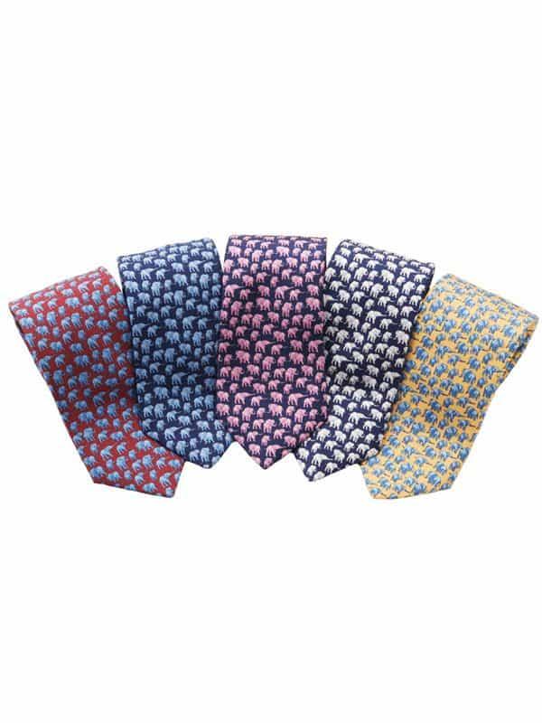 Elephant Silk Tie - Navy And White
