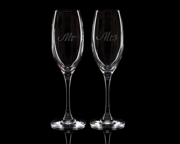 Crystal Champagne Flutes Mr And Mrs