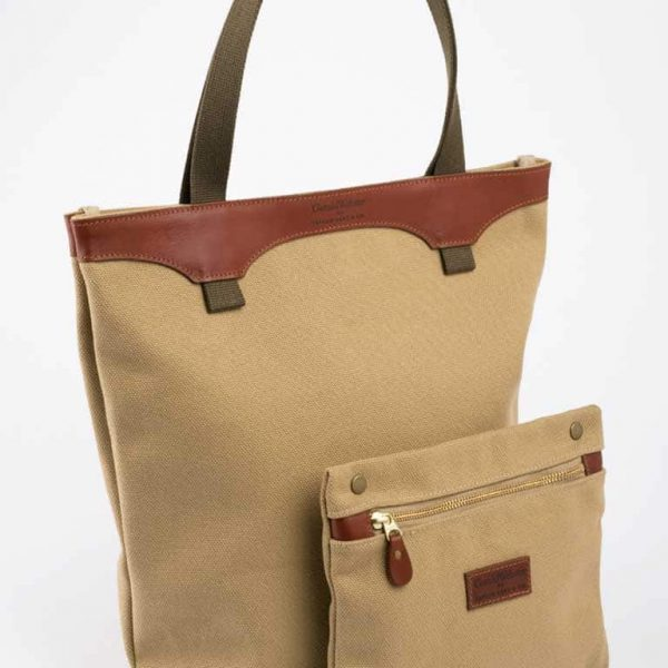 Canvas And Leather Tote Bag And Pouch