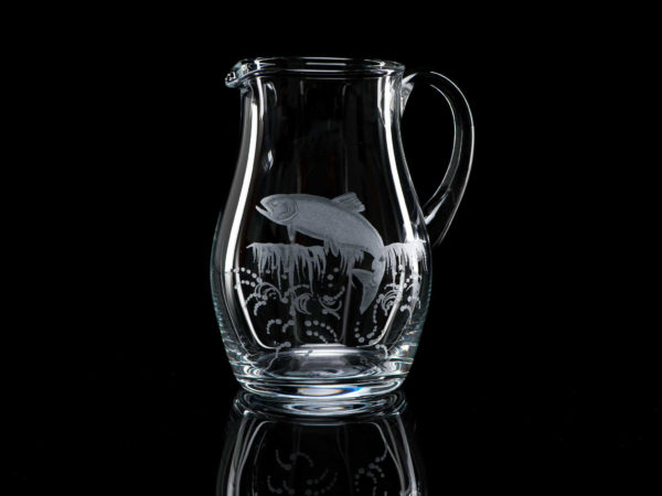 Crystal Water Jug 1 Litre Leaping Salmon