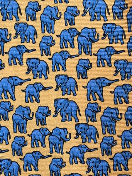Elephant Silk Tie - Yellow