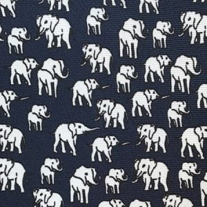 Tusk Elephant Silk Tie – White