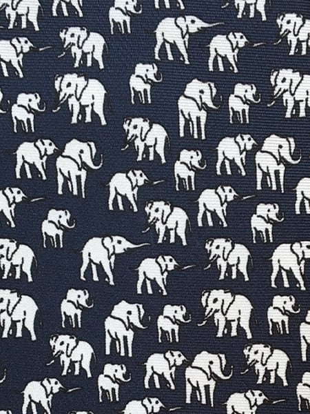 Elephant Silk Tie White
