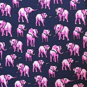Tusk Elephant Silk Tie – Navy And Pink