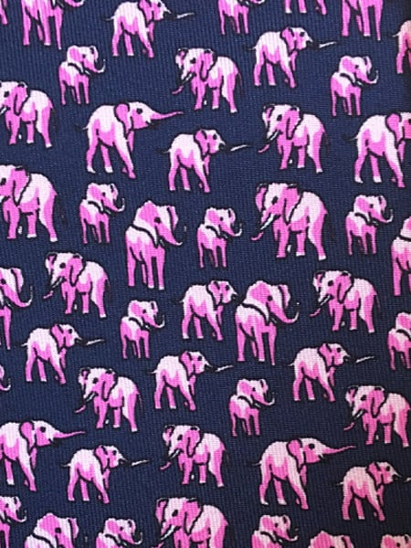 Navy and Pink Elephant Silk Tie