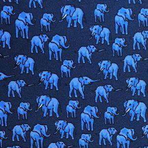 Tusk Elephant Silk Tie – Navy