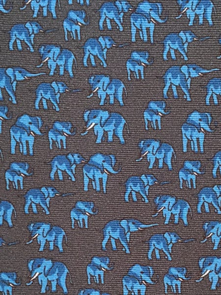 Dark Grey Elephant Silk Tie