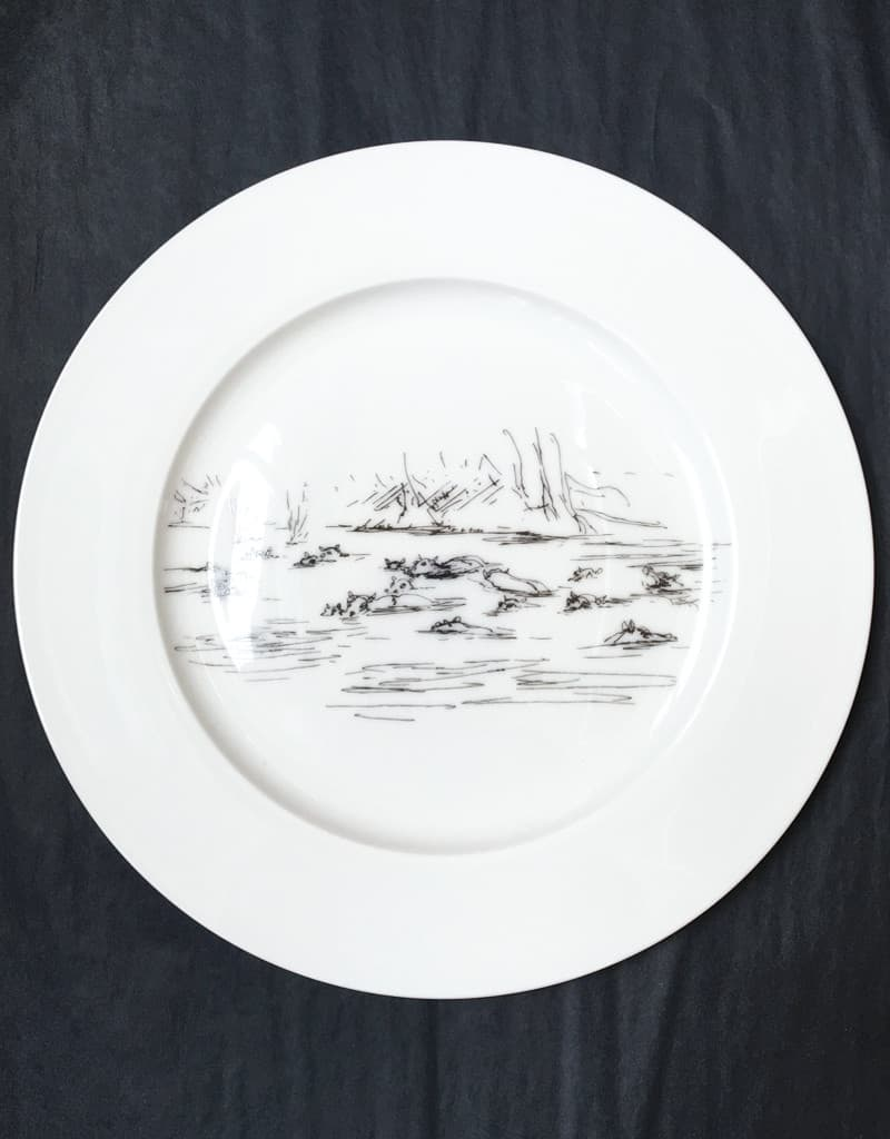 Bone China Dinner Plate - Hippo