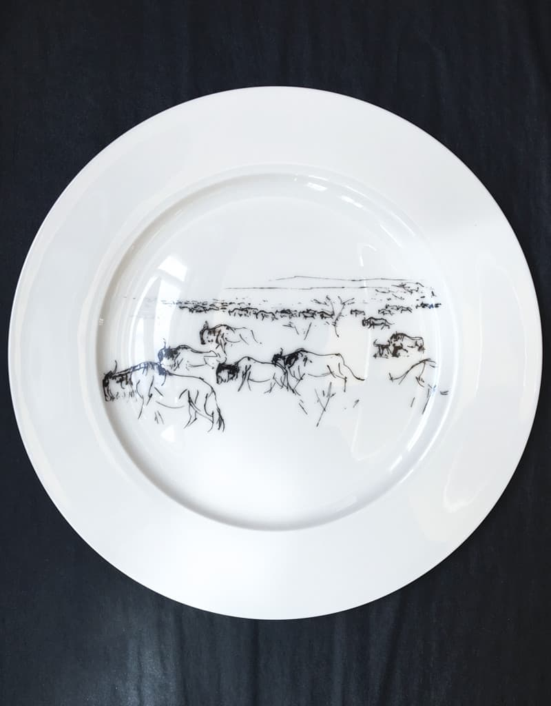 Bone China Dinner Plate Wildebeest