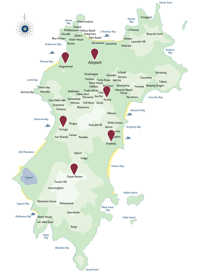 Mustique Villas - Map